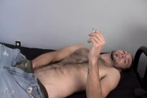 tight Smoking Alternative man Wirh curly Armpit